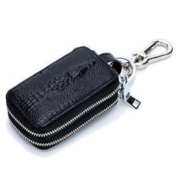 Genuine Leather Men Car Key Wallets Housekeeper Alligator Pattern Double Zipper Home Key Case Fashion Women Key Bag da pelle di renault fornitori