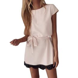 Женская одежда онлайн-Женская мода Pure Color Dress Лето Женский Платья с круглым вырезом с бантом Sexy Ladies Обшитые панелями кружевной одежды