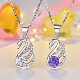 пурпурные бриллиантовые подвески Скидка Австрийский хрусталь маленький лебедь ожерелье белый фиолетовый кубический цирконий с бриллиантом кулон серебряный ящик цепи для женщин ювелирные изделия класса люкс