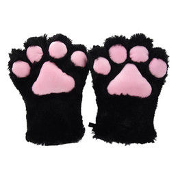 2020 clip a piede 2 pezzi Black Cat Foot Paw Plush Gloves + Cat Ears Hair Clips Hair Pin Party Cosplay C19021601 sconti clip a piede