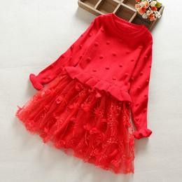 vestido floral de pele falsa Desconto Novas crianças vestuário vestido menina camisola saia de renda versão coreana menina primavera outono malha princesa saia mista