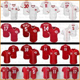 2a89238df Cincinnati Reds Baseball Jersey 5 Johnny Bench 11 Barry Larkin 19 Joey  Votto 14 Pete Rose 17 Chris Sabo 30 Ken Griffey Jr Jerseys