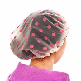 Canada 1 PC Dot Imperméable Bonnet De Douche Épaissir Élastique Chapeau De Bain Bonnet De Bain pour Femmes Salon De Cheveux Salle De Bains Produits Couleur Aléatoire cheap hair color thickening Offre