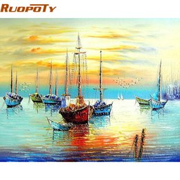 2019 pintando paisagens marinhas ome Decor Pintura Caligrafia RUOPOTY Barco à vela Seascape DIY Pintura By Numbers Kits Tinta acrílica sobre tela Abstra ... desconto pintando paisagens marinhas