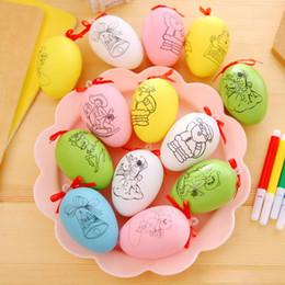 Plastikgans online-Manuelle DIY Osterei Für Kinder Hand Gezeichnete Kunststoff Gänseeier Für Festival Urlaub Geschenk Dekoration Lieferungen 0