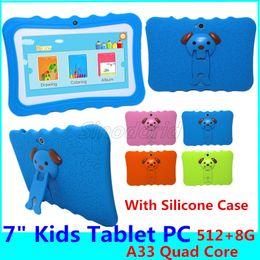 Deutschland Kinder Marke Tablet PC 7-Zoll-Quad-Core-Kinder Tablet Android 4.4 Allwinner A33 große Lautsprecher mit Schutzabdeckung Kindern tabelt PC Versorgung