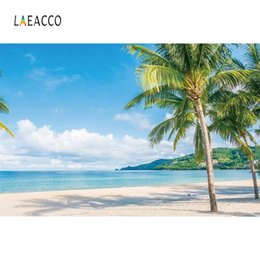 2019 girasoles de vinilo Laeacco Playa de verano Palmera Tropical Cielo azul Nubes blancas Fotografía Fondos Fotografía Fondos para estudio fotográfico
