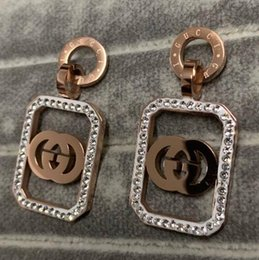 rhinestone letter earrings Coupons - Top Quality Big Size Fashion Designer Stainless Steel Studs Gold Plated G Letter Earrings For Women Gifts Wholesale Price