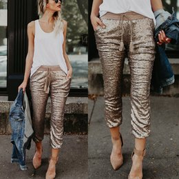 Leggings brand new online-Brand New 2019 Mujeres Cintura Alta Flaco Tobillo-Longitud Pantalones Regular Lentejuelas Glitter Leggings Joggings Pantalones Clubwear