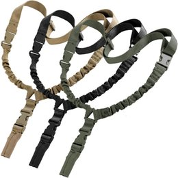Sling singolo bungee online-Heavy Tactical One 1 American Single Point Sling regolabile Bungee Rifle tracolla lunghezza per Air-soft all'ingrosso