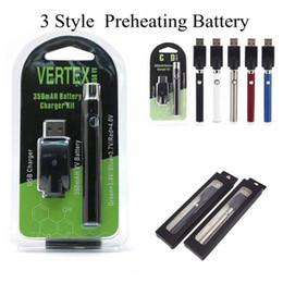 2019 ego t clearomizers Vertex Preheat Vape Battery 350MAH Piles pour stylos vape Piles pour 510 fils pour vaporisateur Pile à cigarettes à cartouche de tension variable