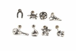 2019 piercings grátis Shippment livre 50 pcs Corpo Jóias 16G jóia do corpo de aço Inoxidável Piercing no lábio Labret anel Ear Helix Cartilagem Studs NOVO piercings grátis barato