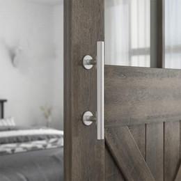 Cepillo de pomo online-1 piezas de acero inoxidable cepillado de alta calidad 304 puerta corredera de granero tirador tirador de puerta de madera tirador de puerta