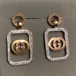 Бриллианты из золота 14k онлайн-Топ известный бренд титановой стали большой розовое золото мотаться серьги делюкс квадратных женщин полный алмазов партии серьги ювелирные изделия оптом