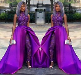 plus size sleeveless pant suits Coupons - Sexy Purple Jumpsuits Prom Dresses With Detachable Train High Neck Lace Appliqued Bead Evening Gowns Luxury African Party Women Pant Suits