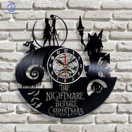 pesadelo antes do natal jack sally Desconto Disco de vinil relógio de parede pesadelo antes do natal jack e sally relógios de parede clássico mecanismo de quartzo decoração da sua casa