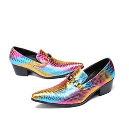 Christia Bella Trendy Moda Düğün Parti erkek Deri Elbise Ayakkabı Renkli Ölçekler Orta Topuk Erkekler İş Ayakkabı Üzerinde Kayma nereden