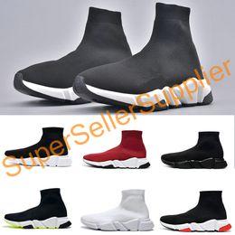esportes de alta velocidade Desconto Alta Qualidade Paris Sock Shoes Speed Trainer Correndo corredores de corrida Sneakers Speed Trainer Sock Sapatos homens e mulheres Esportes sapatos pretos