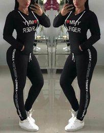 2019 conjuntos de pantalones de sudor de las mujeres Venta caliente estilo de primavera sudadera Imprimir chándal de las mujeres pantalones largos Pullover Tops Womens set Mujeres trajes deportivos rebajas conjuntos de pantalones de sudor de las mujeres