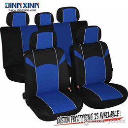 2019 copri sedile auto blu DinnXinn all'ingrosso di tessuti in poliestere personalizzabile di lusso 9 pc set completo coprisedili lavabile universale rosso grigio blu macchina nera copri sedile auto blu economici