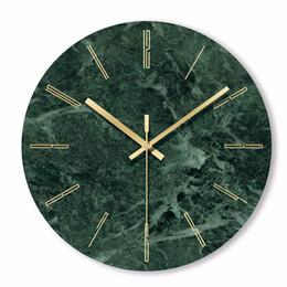 desserts roses Promotion 1 PC Horloge Murale En Marbre Simple Décoratif Créatif Nordique Moderne En Marbre Horloge En Marbre Mur pour Salon Cuisine Bureau Chambre