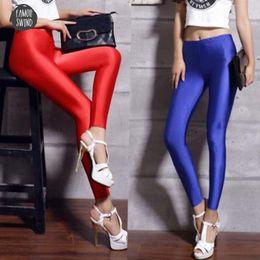 2019 spandex delle ghette nere delle donne Womens Blue Black Lycra Leggings Neon Spandex Leggings a vita alta Stretch Skinny Shiny Spandex donna Leggings Donne spandex delle ghette nere delle donne economici