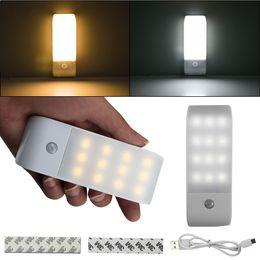 magnetische lichtstreifen Rabatt 12 LED USB wiederaufladbar unter Kabinett Licht Lampe PIR Bewegungsmelder Nachtlicht für Kleiderschrank Küche mit Magnetstreifen