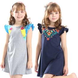 5669903aa 2019 vendedor caliente de las muchachas del verano vestidos bordados niños  vestido de dibujos animados de alta calidad con apliques algunos pájaros  lindos ...