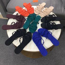 chanclas de fiesta Rebajas Diseñador de moda 2019 Sandalias Con Chaine d'Ancre Sandalias para mujer Diapositivas Chanclas planas Zapatillas de boda para bodas con caja US 11