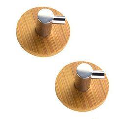 Adhesivo inoxidable online-Gancho de la suspensión de puerta del armario de baño Cocina Sin clavo de auto-adhesivo de gancho de acero inoxidable de bambú palo en colgar de la pared de la puerta EEA1175-3