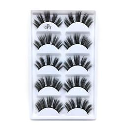 cuadro mixto al por mayor de maquillaje Rebajas G800 pestañas falsas 5 pares 3D naturales largos 10 estilos hechos a mano estilos populares gruesos venta caliente