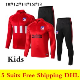 19 20 Novo Atletico Madrid criança sportswear 2019 2020 Atletico crianças treino de futebol COSTA JOAO FELIX meninos manga longa com zíper treino terno de