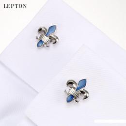 2019 gemelli lampeggianti Camicia blu Fleur De Lis gemelli per i Mens di alta qualità Light Blue Crociata design Gemelli Moda Uomo di polsino gemelli gioielli e accessori