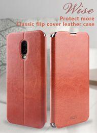 Caso oneplus one flip on-line-Mofi luxo fino pu leather flip stand caso para oneplus 6t 6 one plus 5t 5