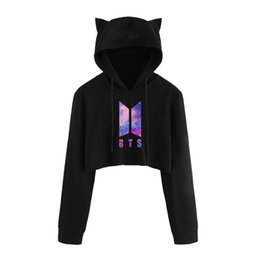 abrigo con estampado de gato Rebajas Fashion-Drop Shipping Bts Crop Top Sudadera con capucha Love Yourself Kpop Impresión Funny Cat Ear Cropped Sweatshirt Hooded Pullover Mujeres Tops Abrigo