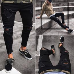 fermetures à glissière jeans hip hop Promotion Jeans de designer pour hommes Slim Moto Moto Biker Causal Mens Denim Pants Hip Hop Hommes Jeans Nouveau pantalon noir trou noir élastique pieds hommes
