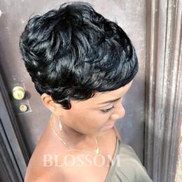 parrucche per capelli afro per donna africana Sconti Parrucche 100% Brasiliano Capelli Corti Ricci Glueless Parrucca corta nera Bob Parrucche afro-americane per donne di colore
