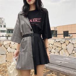 2019 robes de baptême gonflées 2019 vêtements splice t-shirt dress femmes d'été lacets robe de mode lettre Imprimer Designer Mini robe