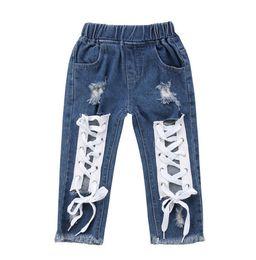 Детские джинсы для мальчиков девочки онлайн-Fashion Toddler Kids Baby Boy Girls Clothing Pants Denim Jeans Bandage Denim Pants Jeans Long Girl 1-6T
