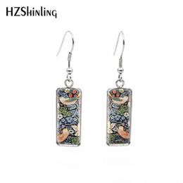 Strawberry jewelry silver online-2019 New William Morris Patterns Rechteckige Ohrringe The Strawberry Thief Tapestry Fisch Haken Ohrring Silber Glasschmuck