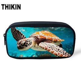 world stationery Promo Codes - THIKIN Underwater World Sea Turtle Print Pencil Bag Students Polyester Pencil Case Stationery Women Make up Case Cosmetic bag