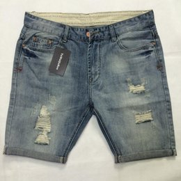 Pantalons vifs en Ligne-Summer Denim Shorts Hommes Jeans Hommes Jean Shorts Trou Hip Hop Bermudes Skate Board Harem Mâle Jogger Cheville Déchiré Vague De La Mode