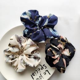 anéis do cabelo da flor das meninas Desconto Menina da Mulher Cabelo Scrunchie Headband Anel Elástico de Impressão Flor Cabelo Bun corda de Dança floral Scrunchy Macio chiffon Faixas de Cabelo 100 pcs FJ3359