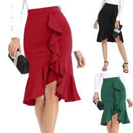 saia de peixe ruffles Desconto 2019 Mulheres de Verão Saia Nova Cintura Alta Irregular Ruffled Bag Hip Fishtail Saia Feminina