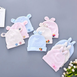 infant bunny hat Promo Codes - 9 styles Toddler Baby Hats Cartoon Bear Bunny Ear Infant Star Bow Floral Cotton Cap Children Fashion Cute Caps