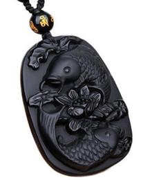 Wunderbare Real Natural Obsidian schwarz geschnitzte Fisch Blume Anhänger Glück frei Halskette Segen Anhänger Modeschmuck von Fabrikanten