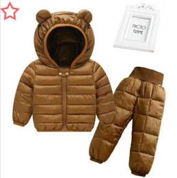 Heiße Rabatte! 1-5 Jahre, Baby und Mädchen Winter Kapuzenjacke Coat + Hose wasserdicht Schnee warmen Anzug, Kinder Kleidung Anzug Y190518 von Fabrikanten