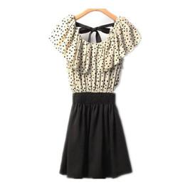 Mini vestido chiffon polka dots on-line-Mulheres vestidos de verão chiffon bolinhas flor feminina vestidos drapeado manga curta bow tie menina praia sexy vestidos um-line