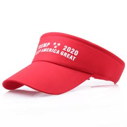 Отличные виды спорта онлайн-Keep America Great 2020 Шляпы Дональд Трамп Письмо Печати Солнцезащитные Шапки Для Летних Мужчин Женщин Спорт На Открытом Воздухе Бейсбольные Шапки Visor A32007