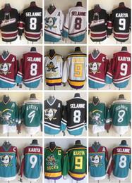 Pato da ala on-line-Vintage Anaheim CCM Mighty Ducks Wild Wing Jersey 9 Paul Kariya 8 Teemu Selanne Retro Melhor costurado Hockey Jersey